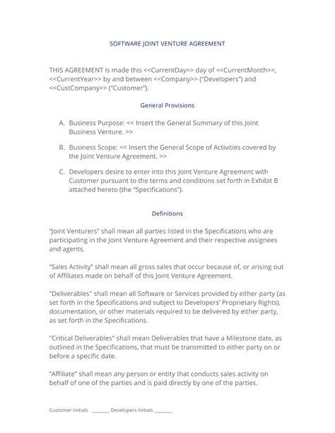 software joint venture development agreement  easy steps