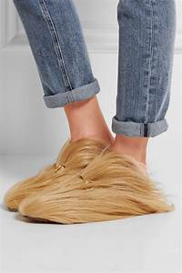 gucci horsebit detailed goat hair slippers in lyst