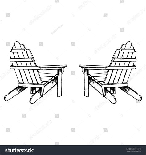 adirondack chairs sketch stock vector 299216519