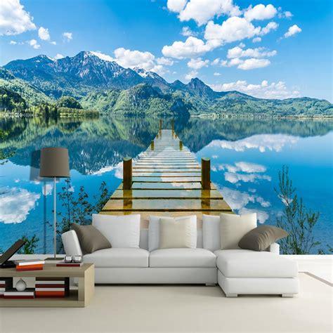 wallpaper nature scenery blue sky wooden bridge lake