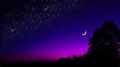 Moon Sky Starry Night Stars Tree Dark
