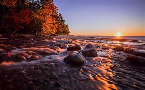 wallpaper michigan usa sunset sea coast stones autumn  full hd  picture image