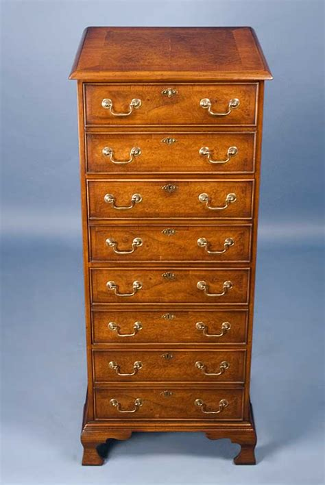 english antique style vertical  drawer walnut file