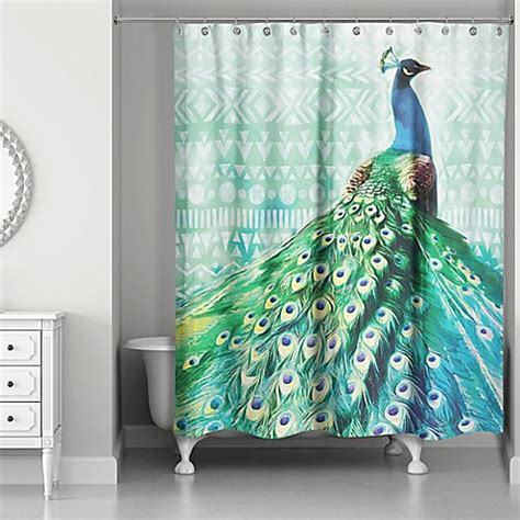 peacock shower curtain designs direct 71 inch x 74 inch watercolor boho peacock