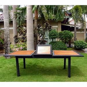 Table Teck Jardin : table de jardin en teck et rotin synthetique ~ Teatrodelosmanantiales.com Idées de Décoration