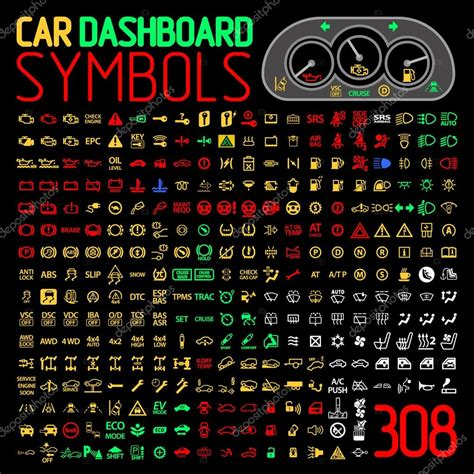 vector car dashboard symbols vector collection  car