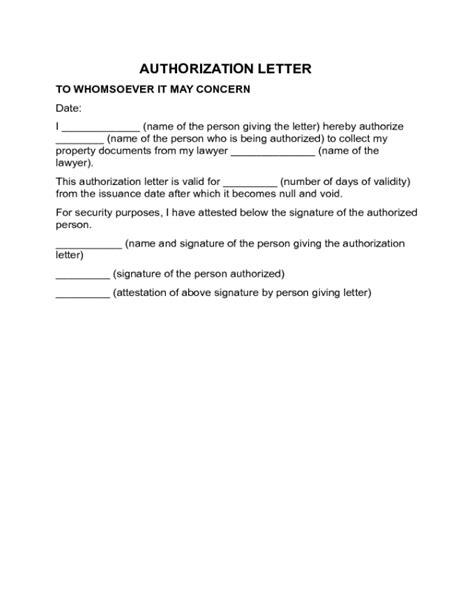 authorization letter templates fillable printable