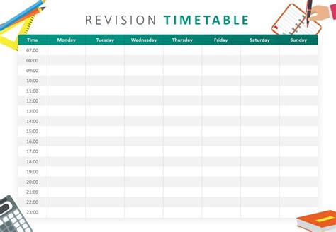 revision timetable powerpoint template revision