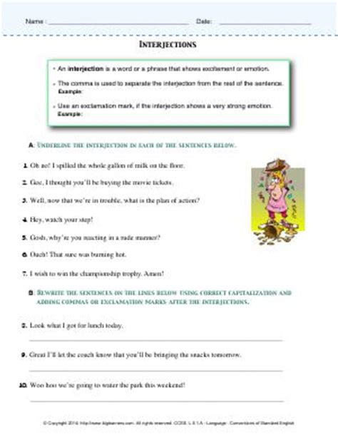Interjection  Prepositions  Fifth Grade English Worksheets Biglearners