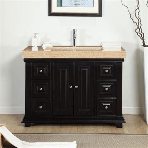 modern single bathroom vanity   travertine