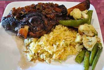 braised lamb shanks  red wine whats cooking america