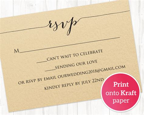 rsvp card printable template wedding templates