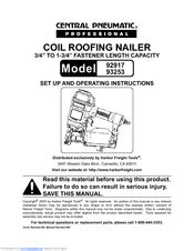 Central pneumatic COIL ROOFING NAILER Manuals | ManualsLib