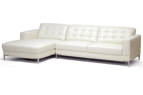 Babbitt Ivory Leather Modern Sectional Sofa