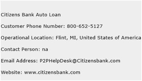 citizens bank auto loan customer service phone number