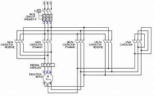Power Circuit Of A Star Delta Or Wye Delta Forward Reverse Electric Motor Controller
