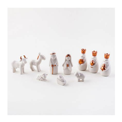 white miniature porcelain nativity scene sets  box novacom
