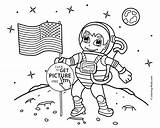 Coloring Astronaut Moon Printable Flag Astronauts Space Colouring Popular sketch template