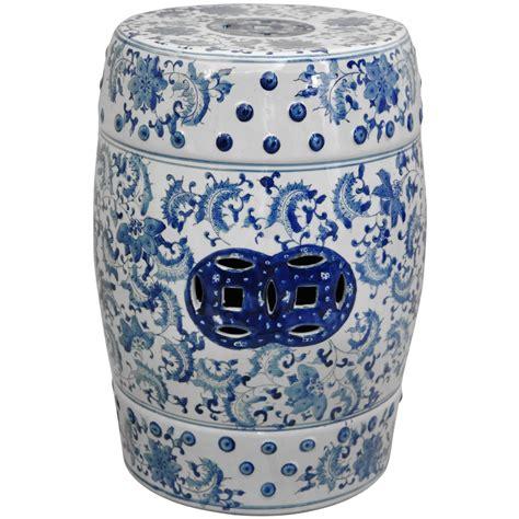 blue and white garden stool 18 quot floral blue white porcelain garden stool