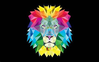 Lion Colorful Geometric Wallpapers