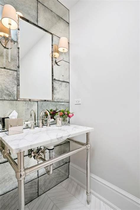 Mirrored Wall Bathroom by Artistic Tiles Edge Antiqued Mirror Silvered