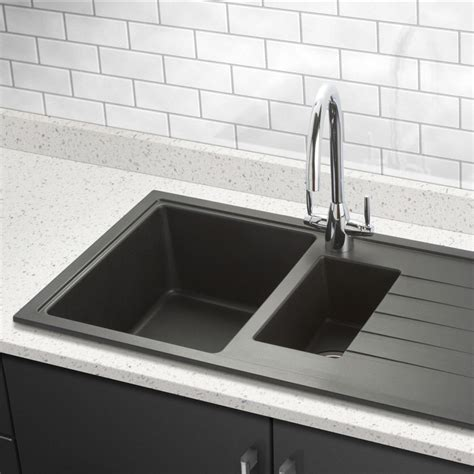 granite composite   bowl kitchen sink drainer black