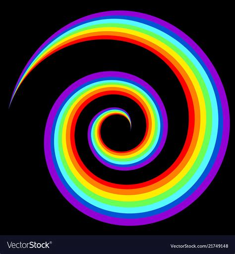 Abstract Rainbow Black Background by Rainbow Swirl Abstract Figure In Black Background Vector Image