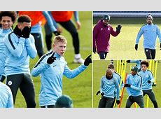 Manchester City players train ahead of Champions League