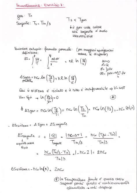 termodinamica dispense fisica 1 termodinamica esercizio 7 la matepratica