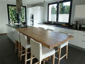 extension maison et ilot central avec poteaux 7 messages With idee deco cuisine avec table a manger contemporaine