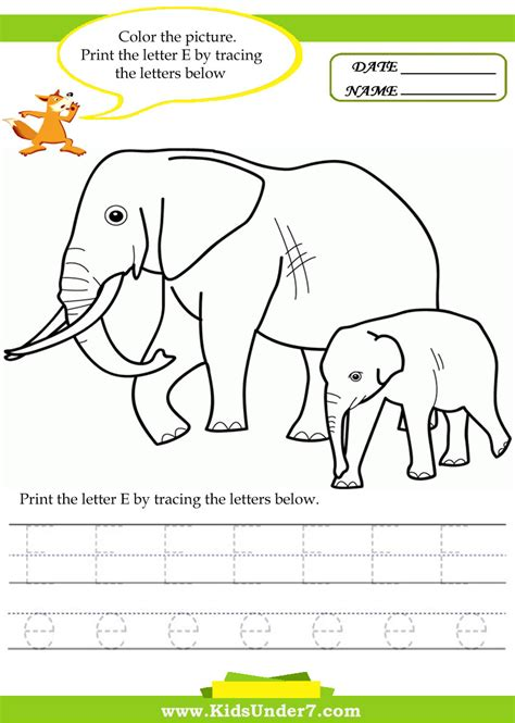 worksheet letter e worksheets for kindergarten to print
