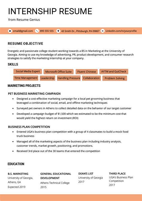 curriculum vitae  internship template