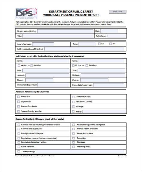 general incident report form incident report form exle