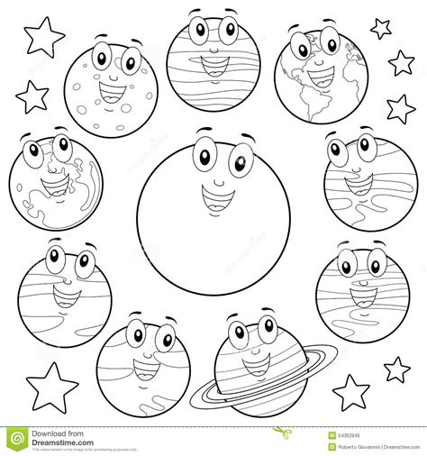 Coloring Cartoon Planets With Sun Moon Stock Vector