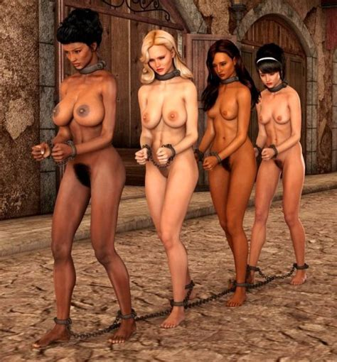 Naked Female Slaves Chained