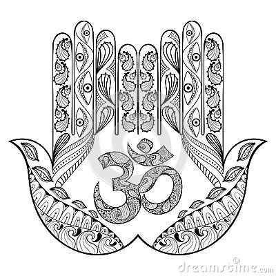 hand drawn protection hamsa hand  adult coloring pages