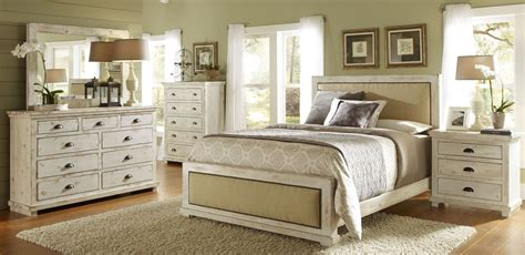 willow distressed white upholstered bedroom set p