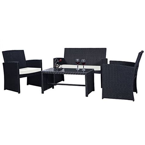 merax 3 cushioned patio pe rattan furniture set