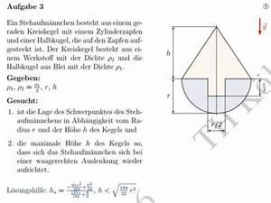 Schwerpunkt Berechnen Physik : schwerpunkt stehaufm nnchen wie berechne ich die lage des schwerpunktes und die maximale h he ~ Themetempest.com Abrechnung