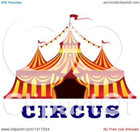 best free clipart clipart of a and yellow big top circus tent text