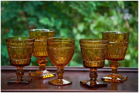 amber glass goblets colored assorted glassware b11
