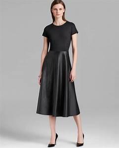 Dressing New York : lyst lafayette 148 new york mirna faux leather midi dress in black ~ Dallasstarsshop.com Idées de Décoration