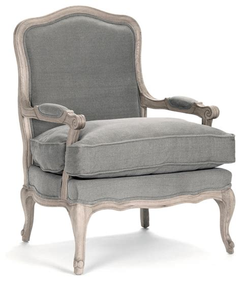 Antique French Accent Chairs by French Country Bastille Dark Gray Linen Salon Armchair