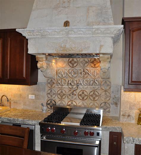 kitchen stone range hoods  ancient surfaces