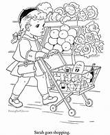 Coloring Pages Shopping Food Printable Grocery Sheets Print Store Books Printables Children Raisingourkids Cat Colouring Goes Drawing Printing Christmas Animal sketch template