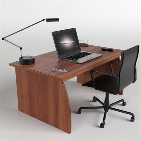 laptop desk and chair office desk with chair and laptop 3d model cgstudio