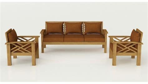 Buy Denver Solid Teak Wood Sofa Set In Natural Teak Finish