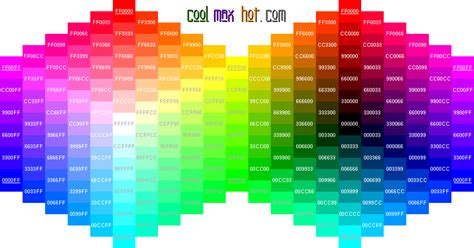 hex colors codes palette chart wheel html hexadecimal