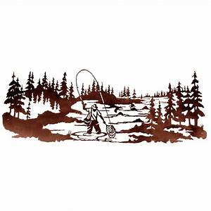 fly fisherman metal wall art With kitchen cabinets lowes with fly fishing metal wall art
