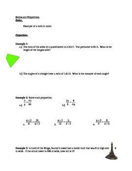 ratio  proportion worksheet  answer key  max math